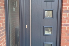 Grey GRP door with side panel